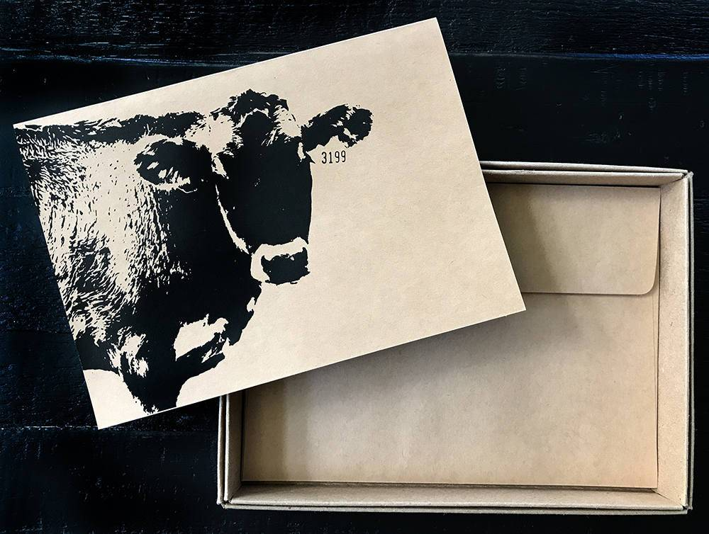 Farm Animal note card boxed set of 8 blank inside recycled kraft pig cow chickens goat barn horse sheep
