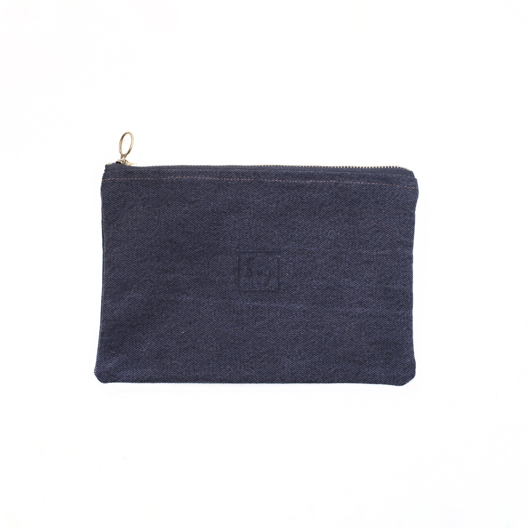 Upcycled denim pouch: Yellow ichthyomancy