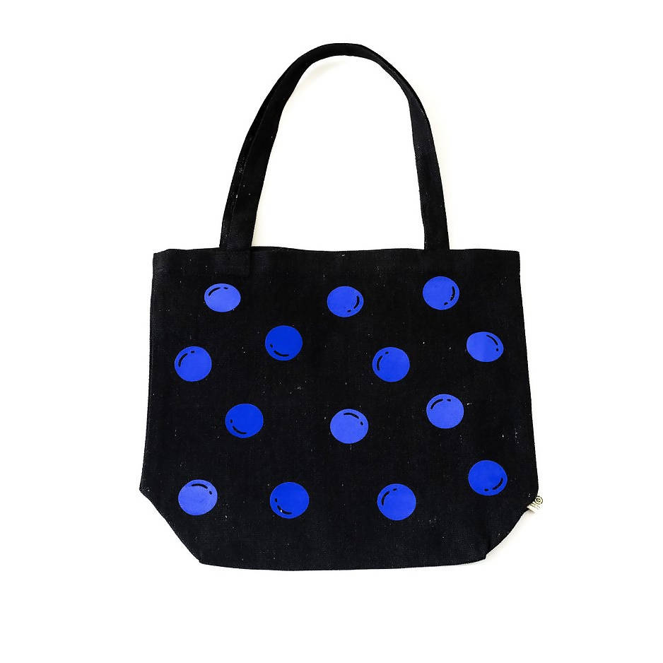 Black with Blue Polka Dot Recycled Cotton Market Bag