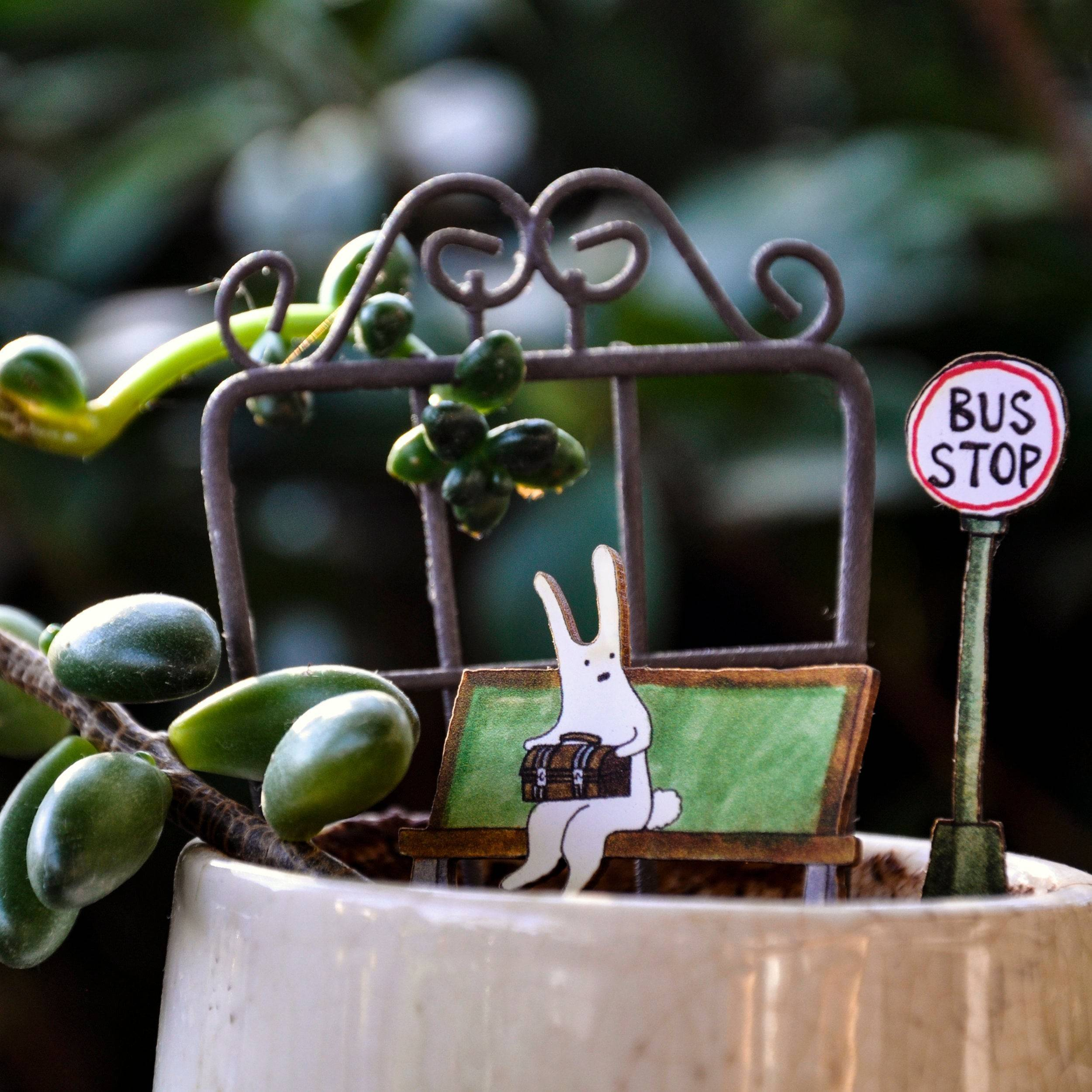 Bunny Bus Stop Fancy Plants Diorama Kit