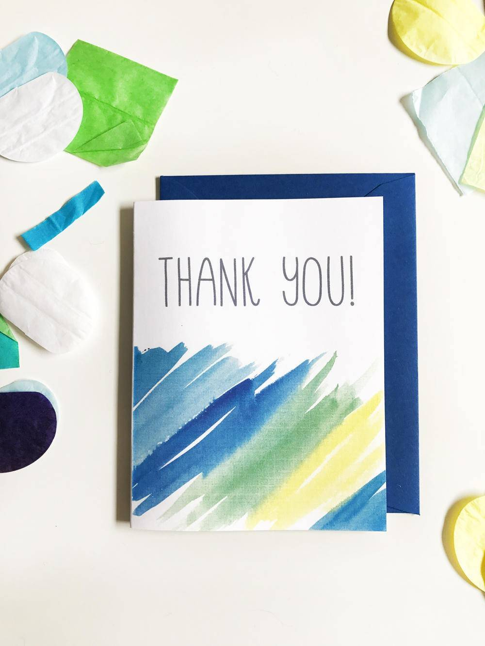 Thank You Blues Watercolor note card set of 8