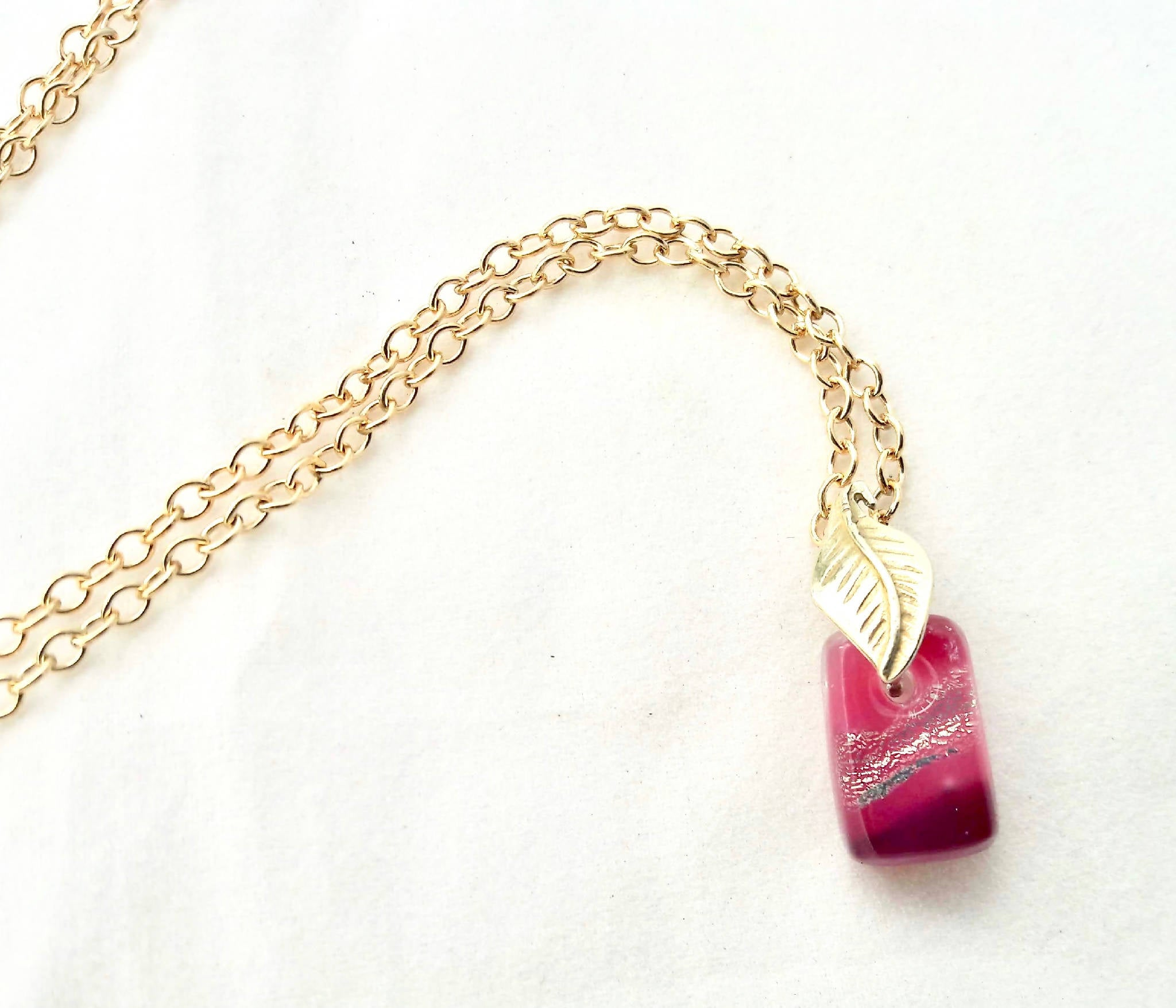 Fused glass micro pendant - Pink Lemonade