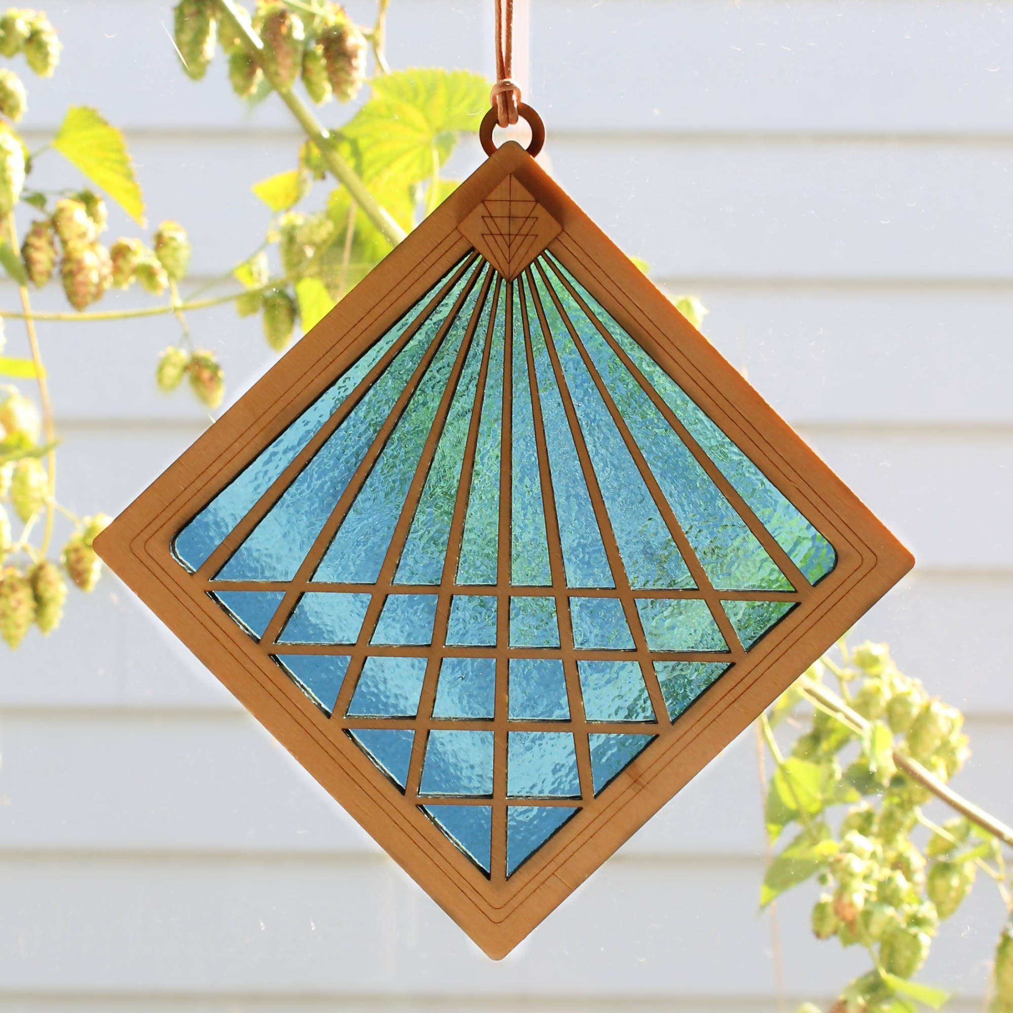 """CONVERGENCE"" Suncatcher - Stained Glass & Wood window decor"
