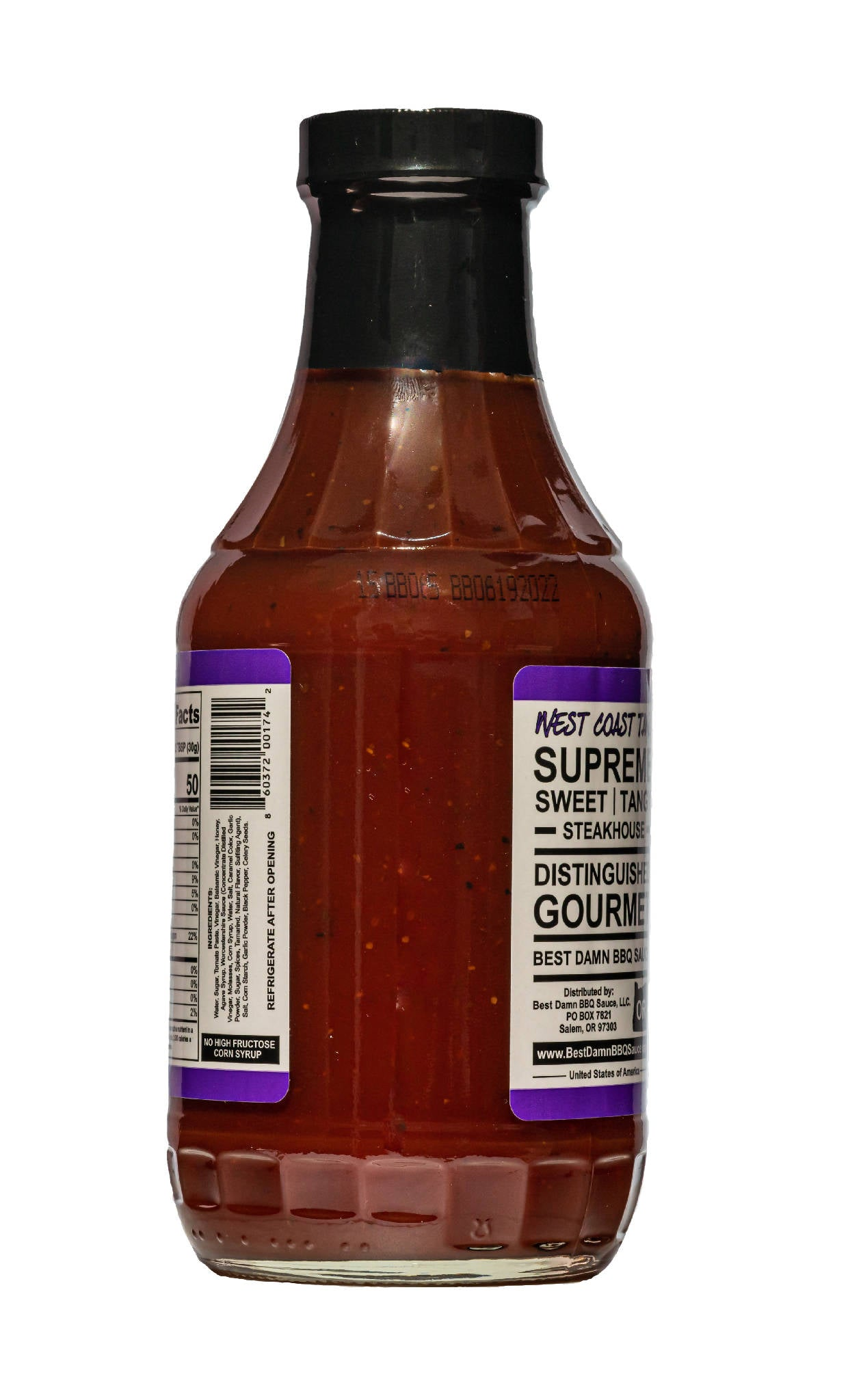 4 Pack - Best Damn BBQ Sauce - West Coast Tang - 20 OZ