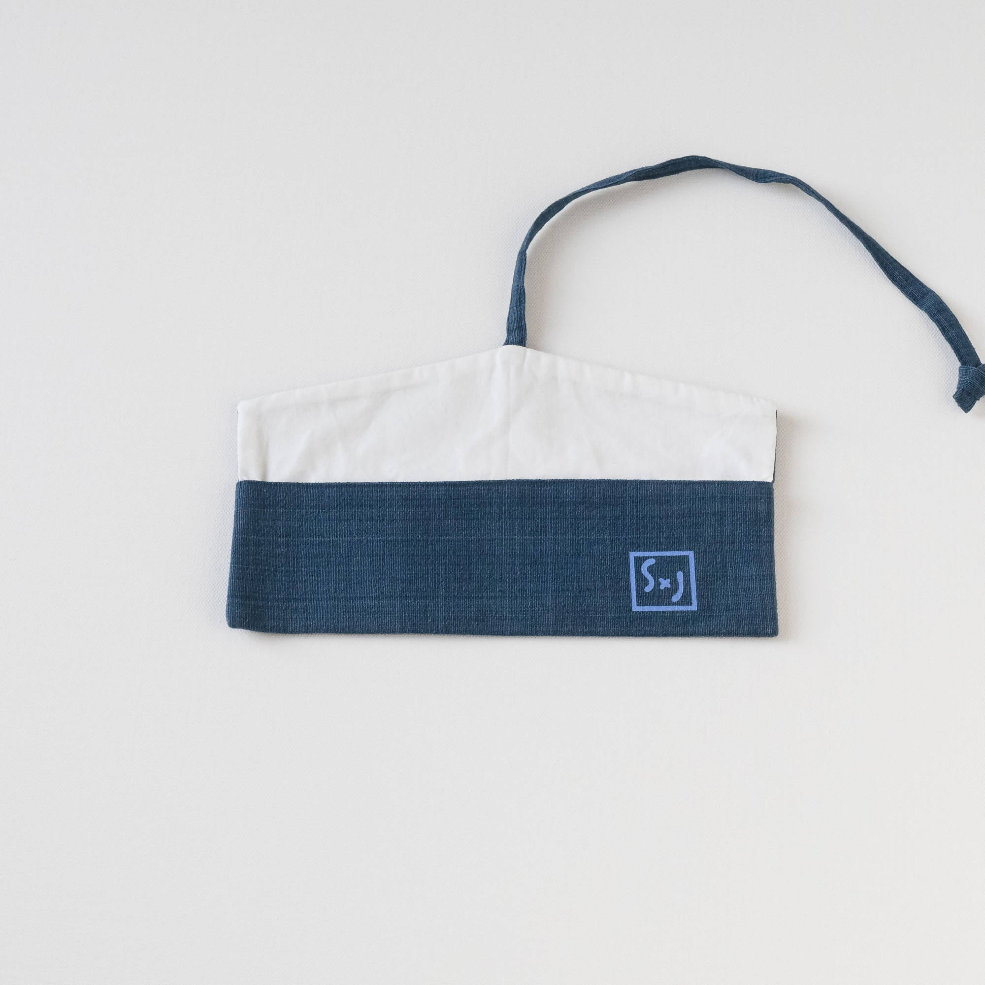 "Indigo with Baby Blue screen print ""LOVE"" screen printed Wrap Pouch with Reusable Utensils"