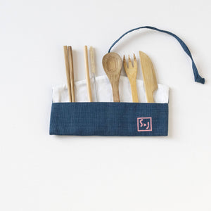 "Indigo with Baby Pink screen print ""LOVE"" screen printed Wrap Pouch with Reusable Utensils"