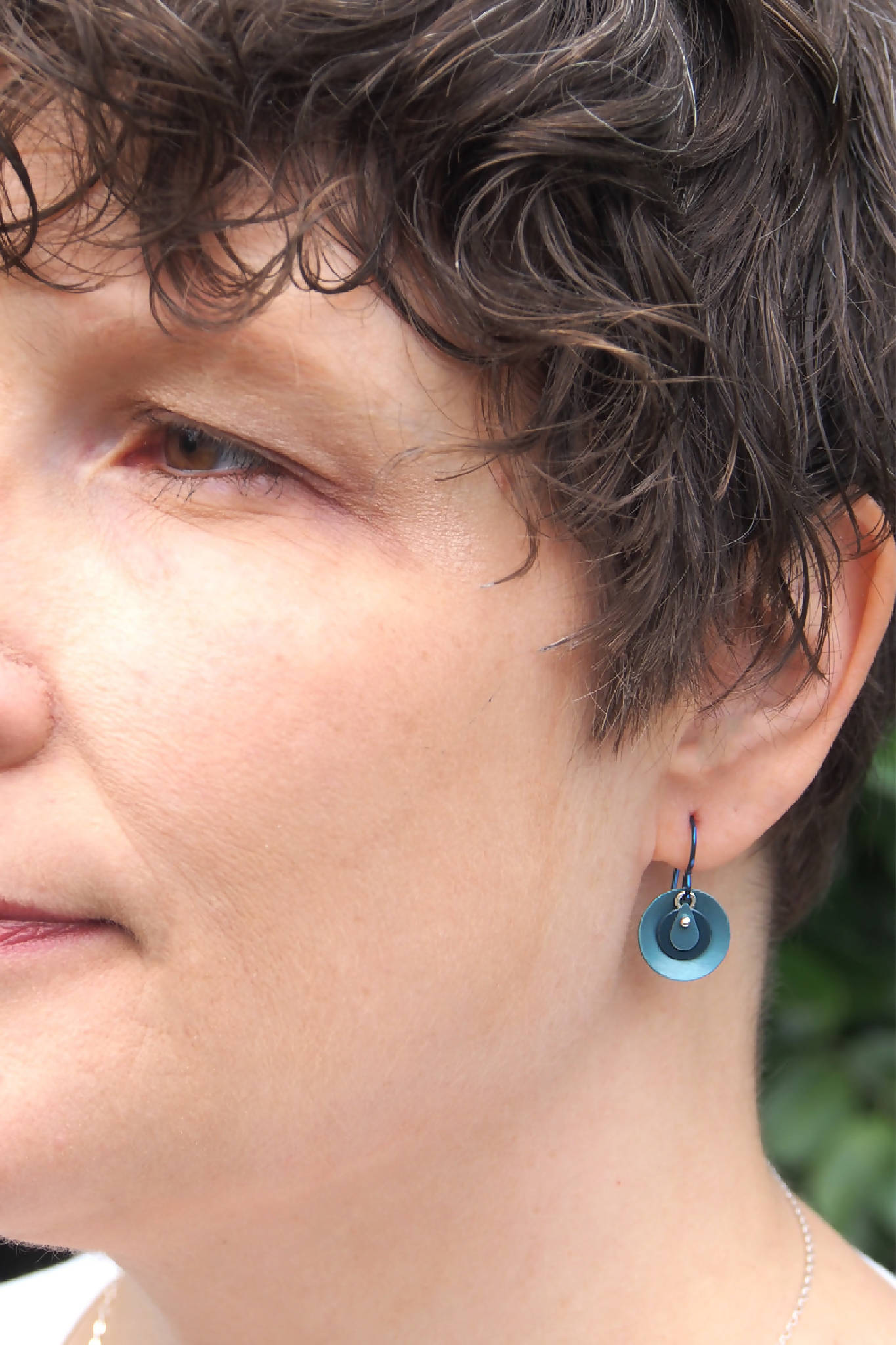 Small, Circular Blue Earrings