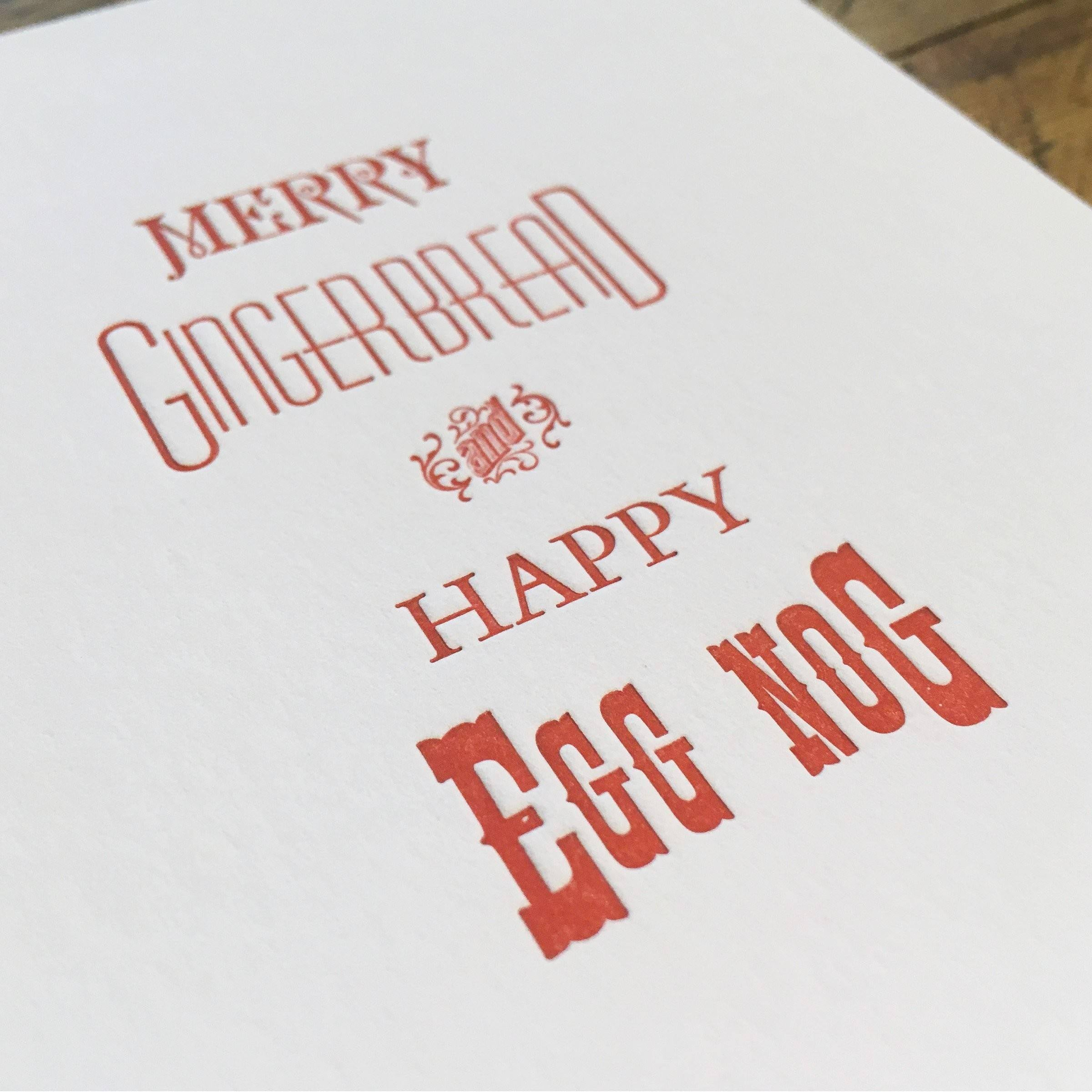 Merry Gingerbread and Happy Egg Nog Holiday Letterpress Cards