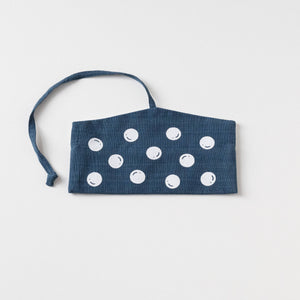 Indigo with White Polka dot screen printed Wrap pouch with Reusable Utensils