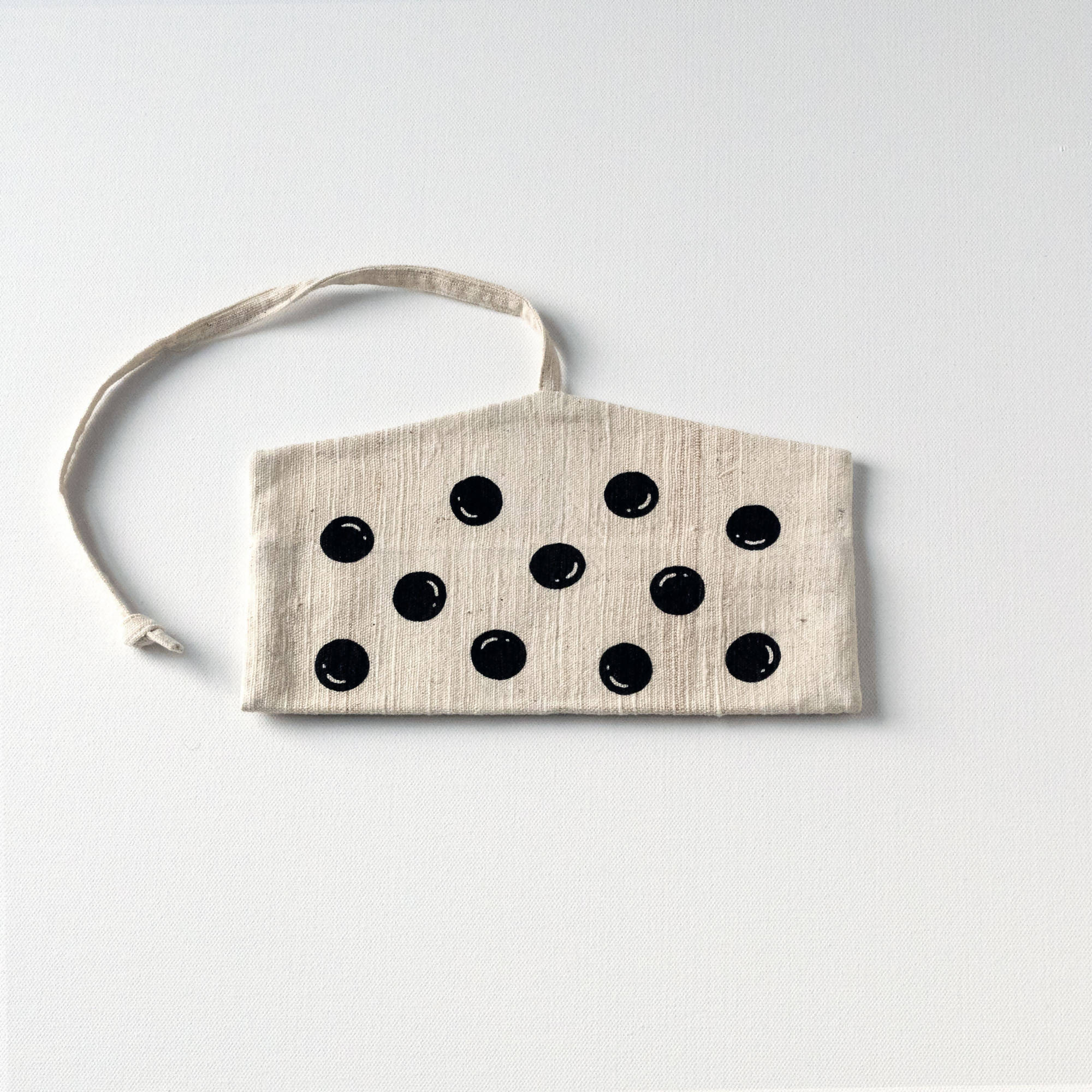 Natural with Black Polka dot screen printed Wrap pouch with Reusable Utensils