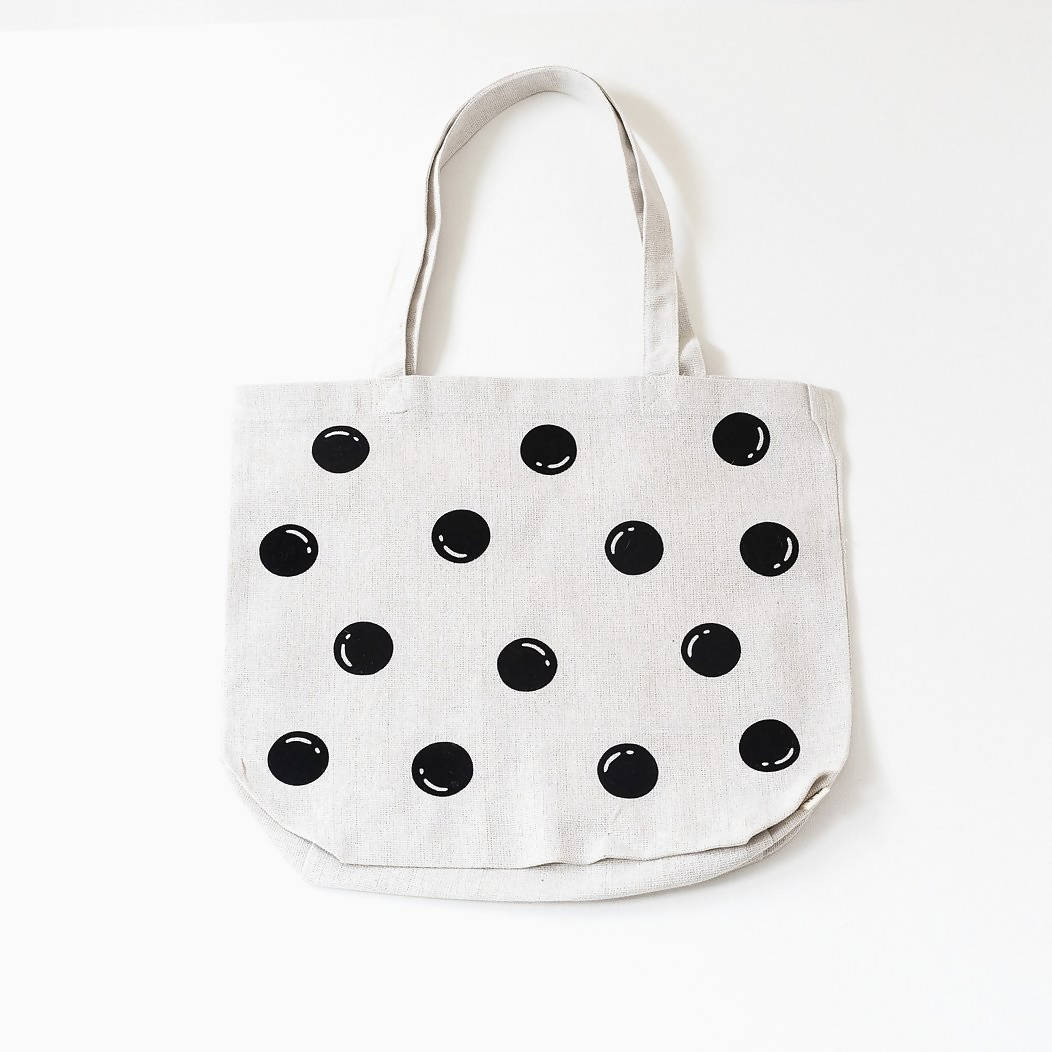 White Polka Dot Recycled Cotton Market Bag