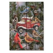 Open image in slideshow, Cardinals Pickup Feeder by Giordano - Winter Wood Wall Art