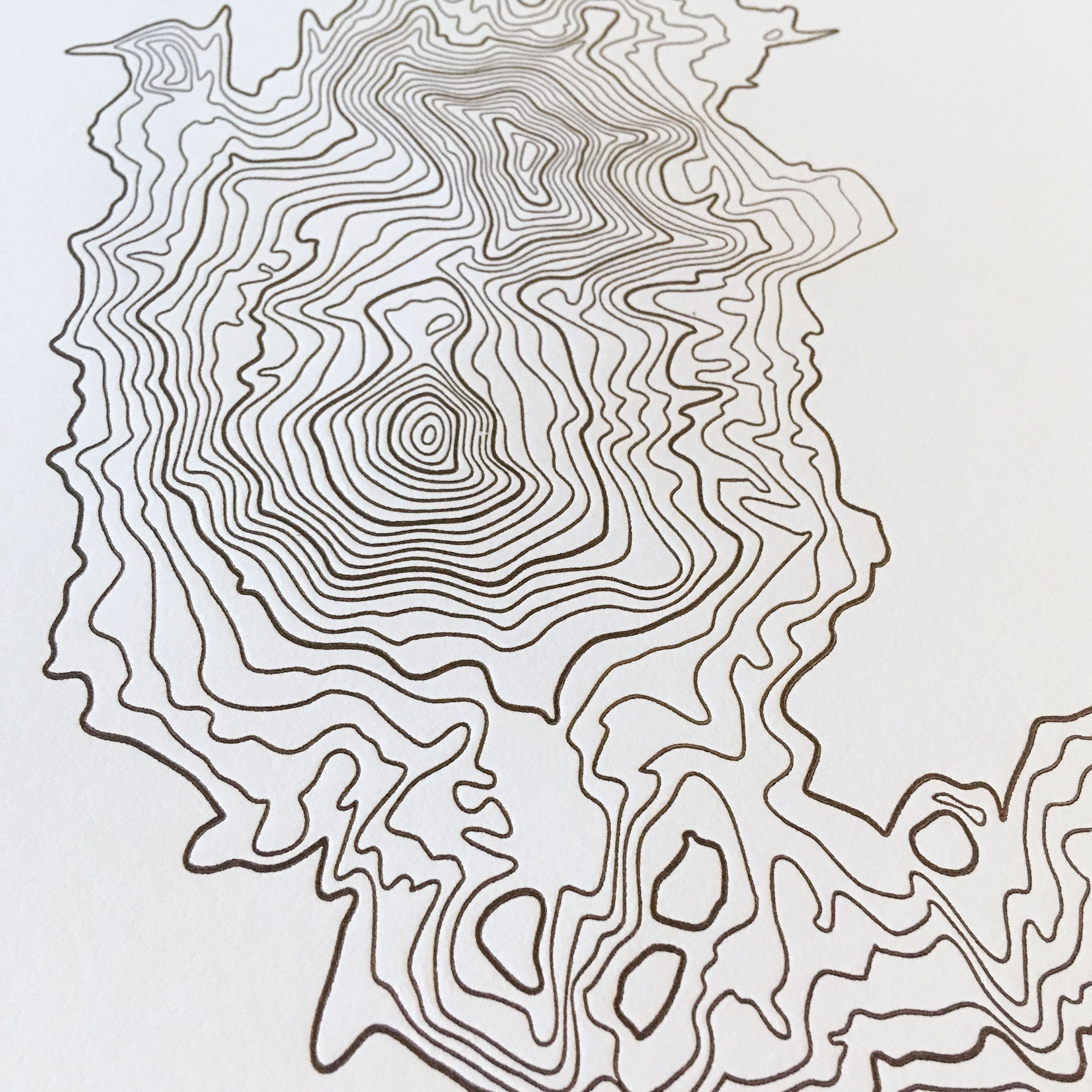"Three Sisters Topographic Map Letterpress Print - 12"" x 18"""
