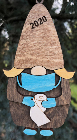 Open image in slideshow, 2020 Gnome with Toilet Paper 3D Wood Ornament