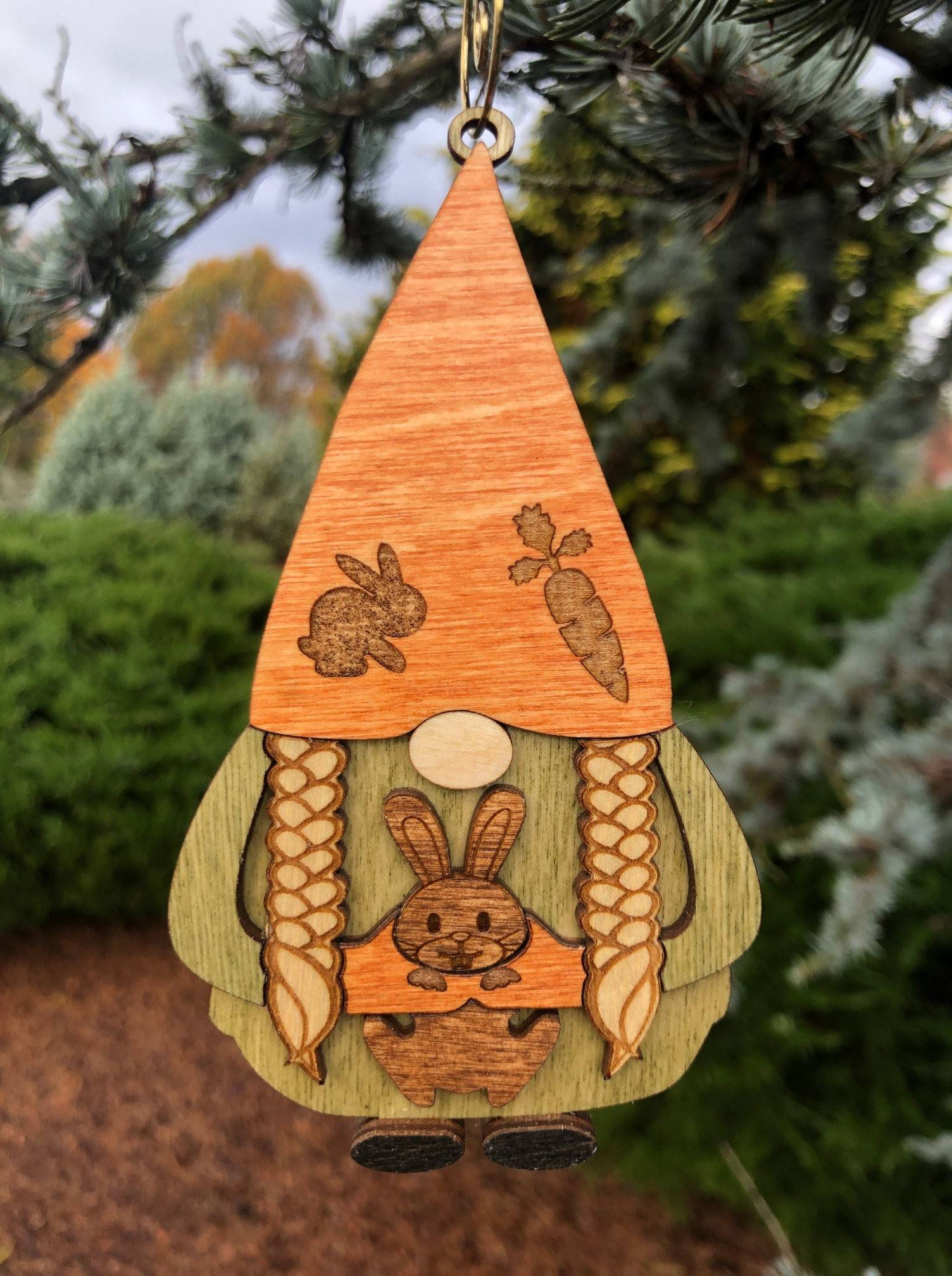 Gnome with Bunny 3D Wood Ornament