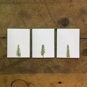 Open image in slideshow, Conifer Tree Letterpress Holiday Cards - Stars & Snow