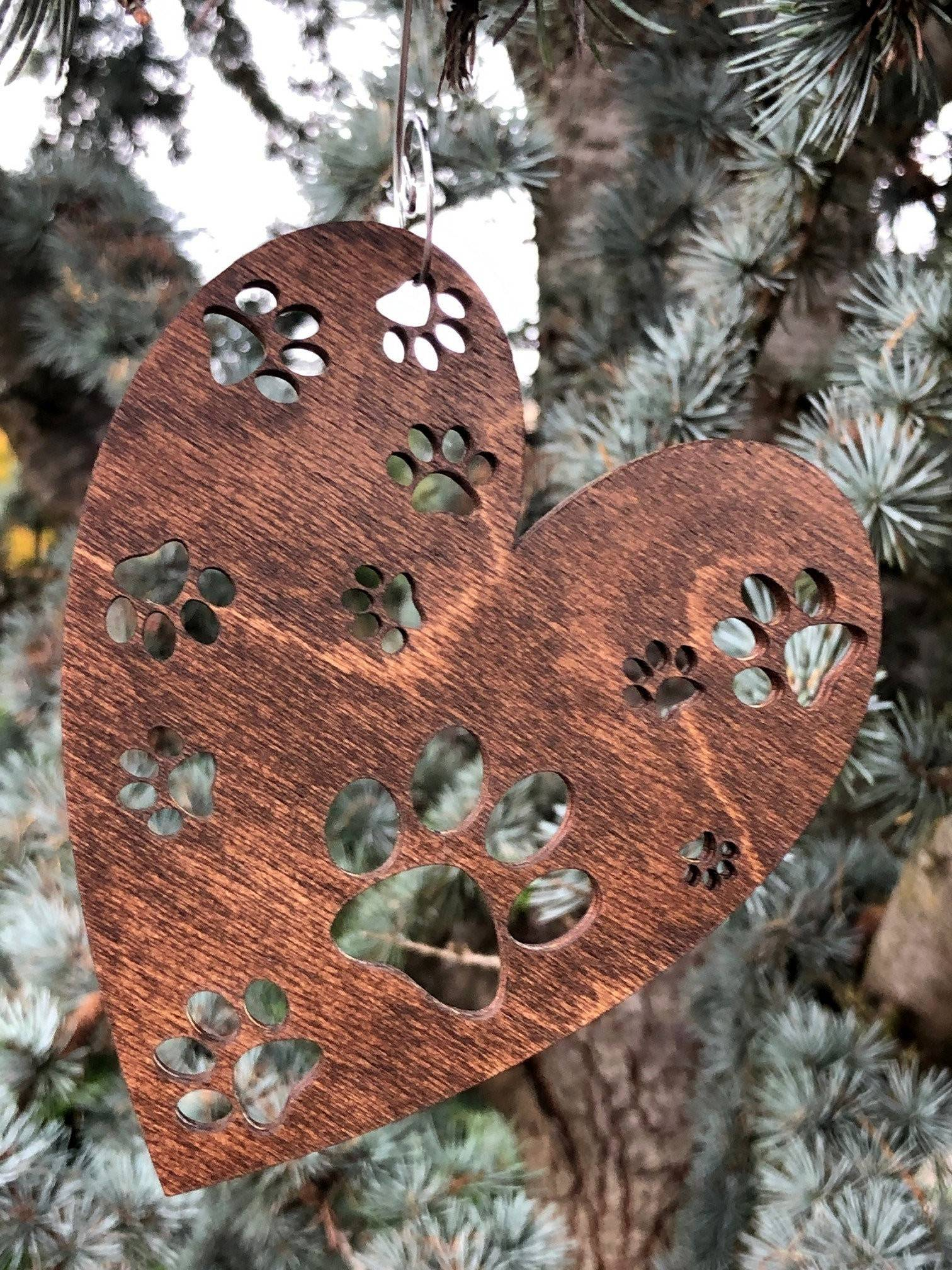 Pawprints on Heart Wood Christmas Ornaments