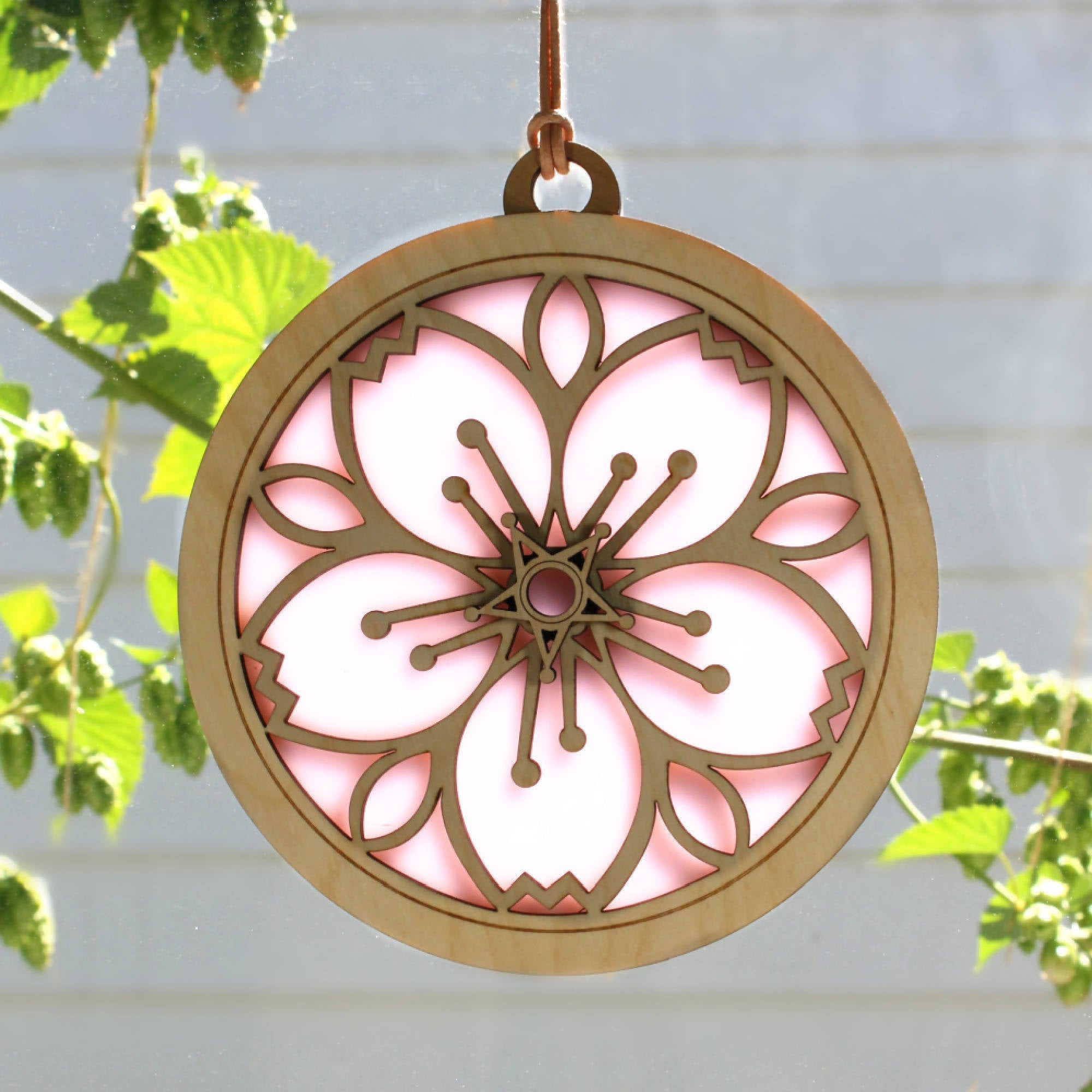"""CHERRY BLOSSOM"" Suncatcher - Stained Glass & Wood window decor"