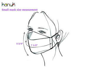 Cotton face mask with filter pocket & nose wire option