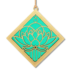 "Open image in slideshow, ""LOTUS BLOSSOM"" Suncatcher - Stained Glass & Wood window decor"
