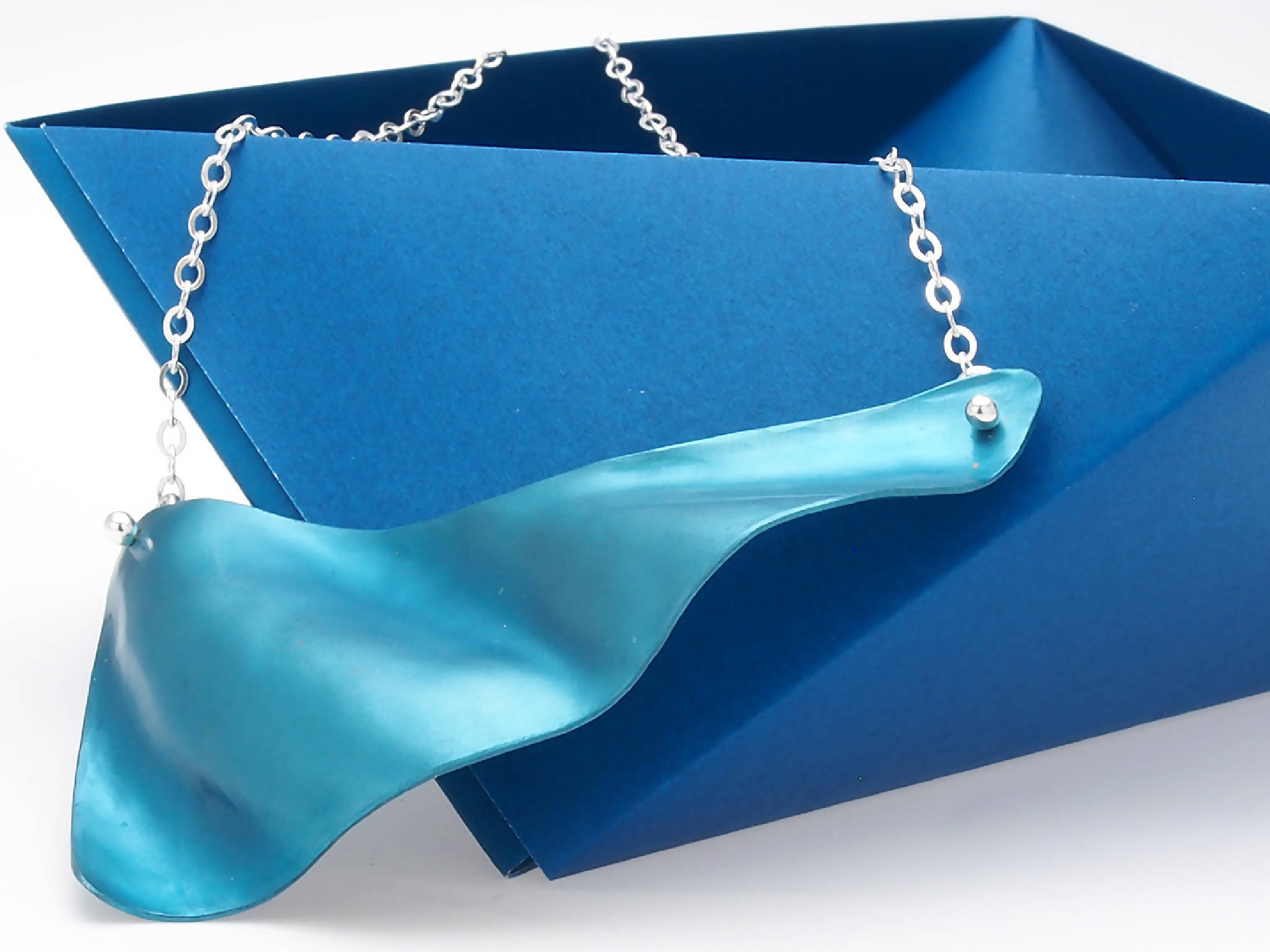 Blue Wave Necklace with Sterling Chain