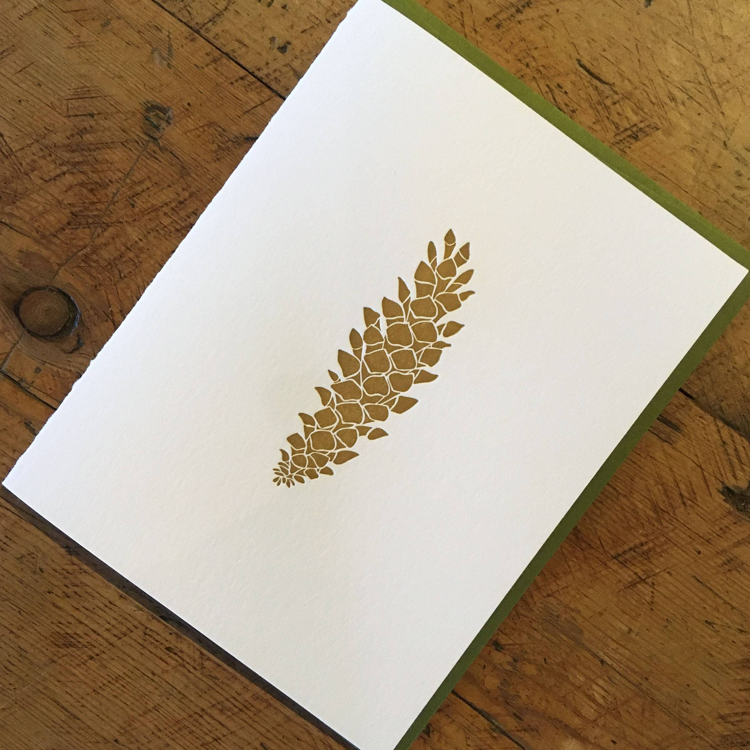 Western White Pine Cone Holiday Letterpress Cards