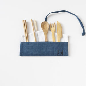Indigo with Black Polka dot screen printed Wrap pouch with Reusable Utensils