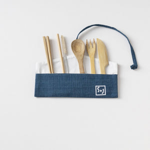 "Indigo with White screen print ""LOVE"" screen printed Wrap Pouch with Reusable Utensils"