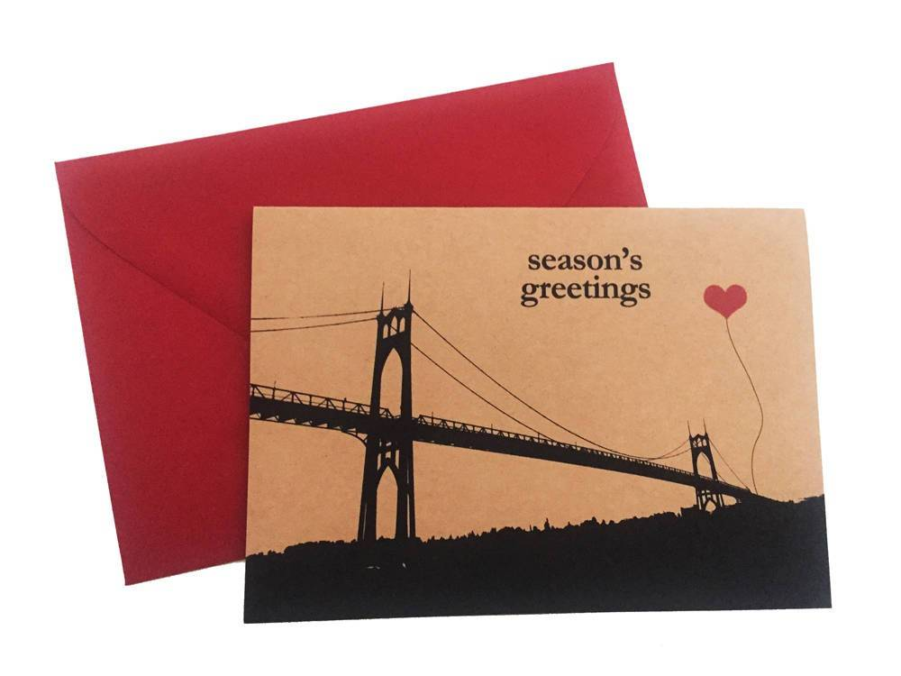 Season's Greetings St. John's Bridge set of 8 note cards Portland Oregon Christmas Holiday
