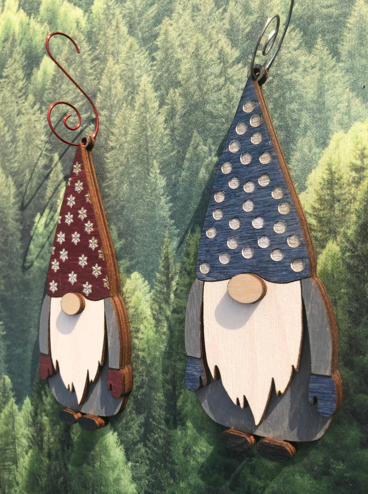 Gnome 3D Wood Ornament Three Colors, Red, Blue or Green