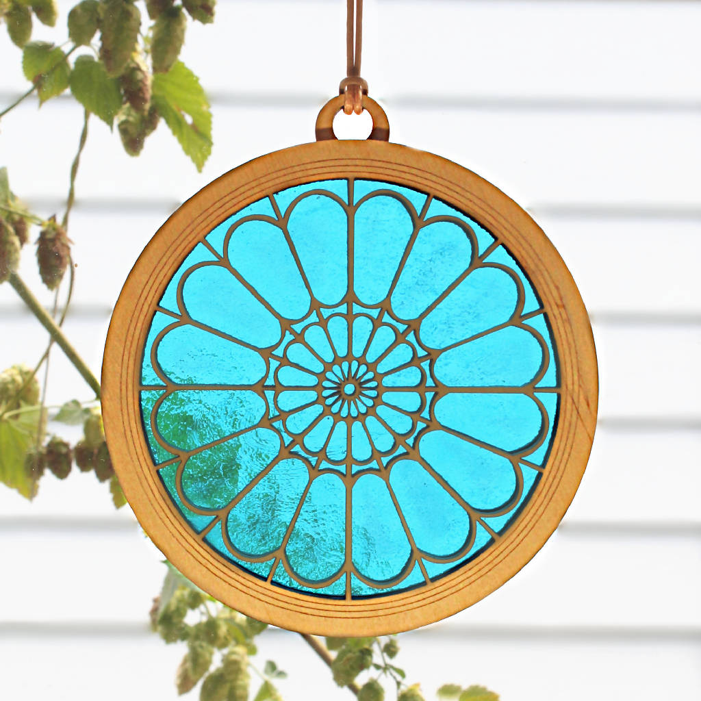 """CATHEDRAL"" Suncatcher - Stained Glass & Wood window decor"