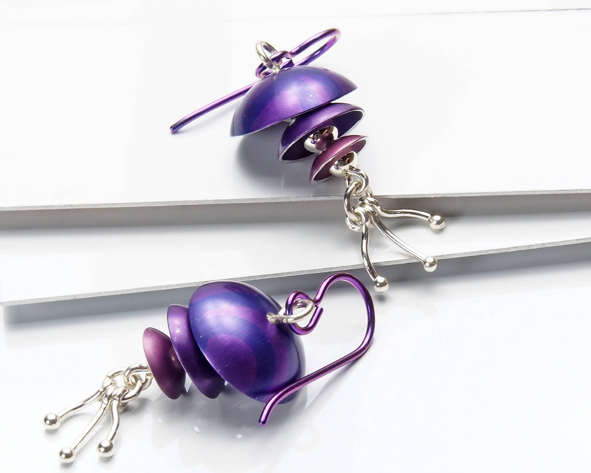 Purple Anodized Aluminum and Sterling Silver Earrings
