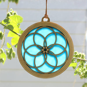 """INTERLOCKING RINGS"" Suncatcher - Stained Glass & Wood window decor"