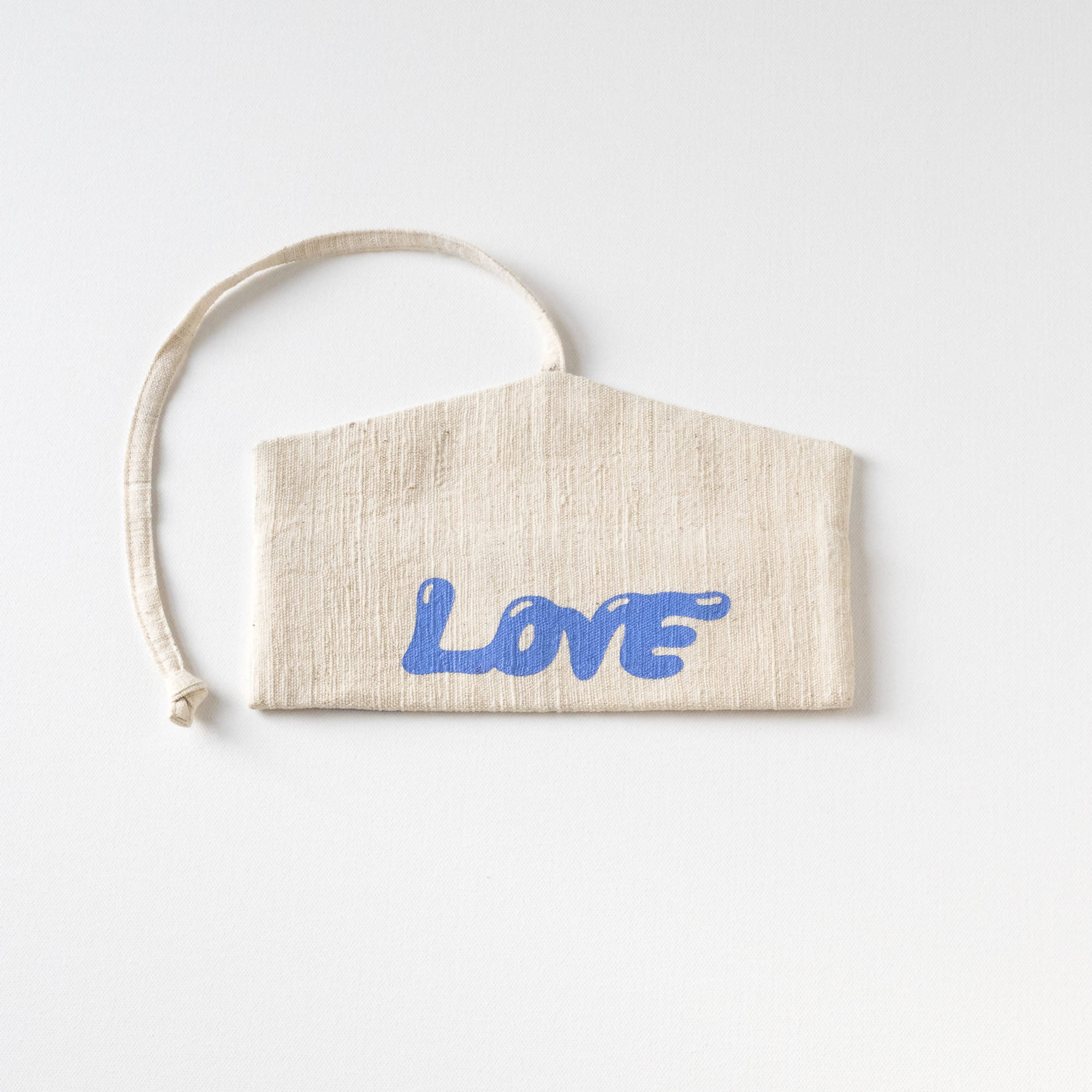 "Natural with Light Blue screen print ""LOVE"" screen printed Wrap Pouch with Reusable Utensils"