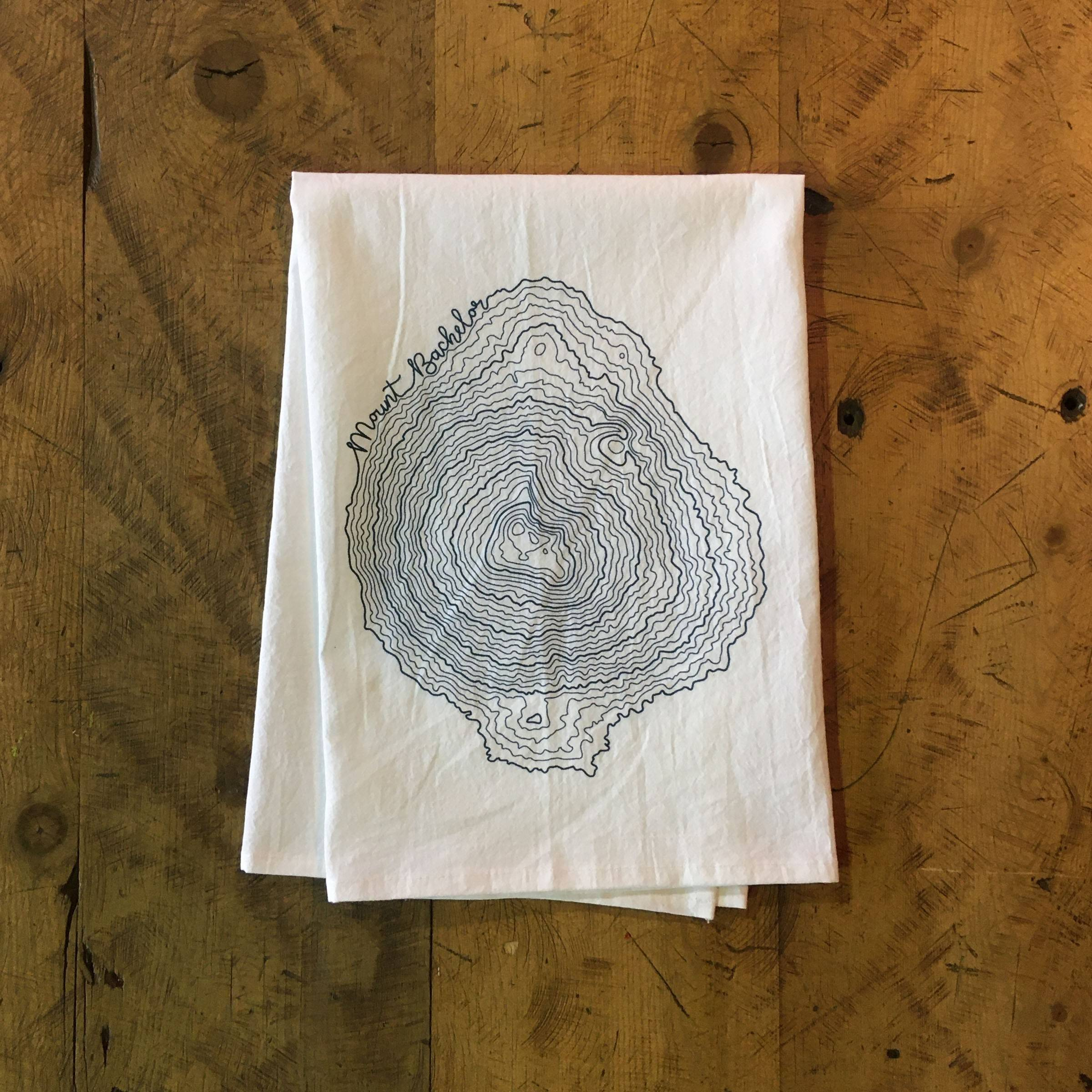 Mt Bachelor Topographic Map Screen Printed Tea Towel