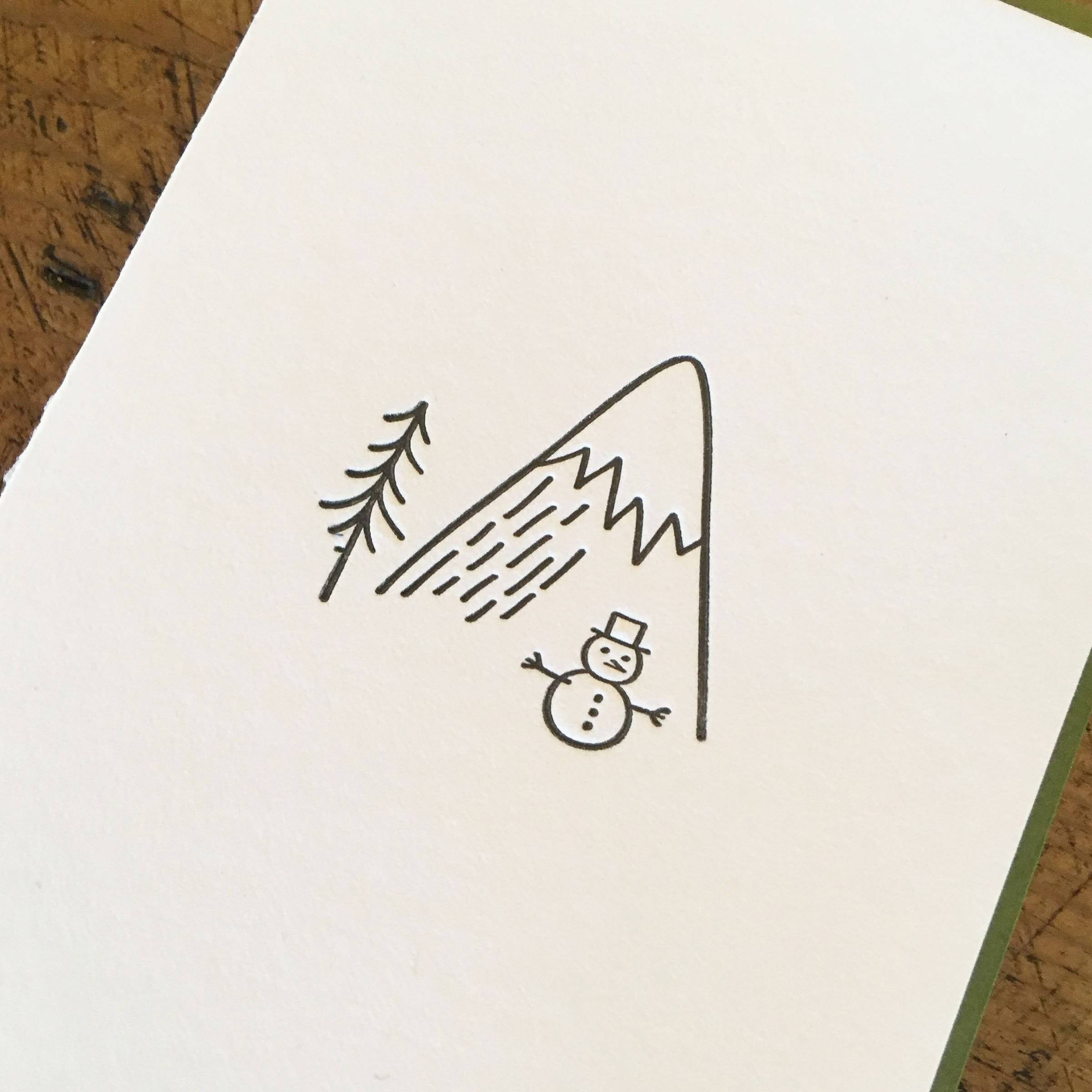 Minimal Adventure Holiday Letterpress Cards - Snowman