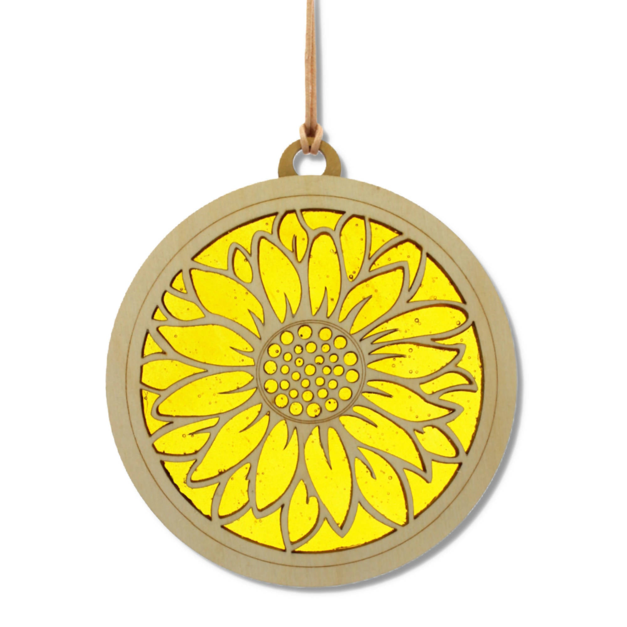"""SUNFLOWER"" Suncatcher - Stained Glass & Wood window decor"