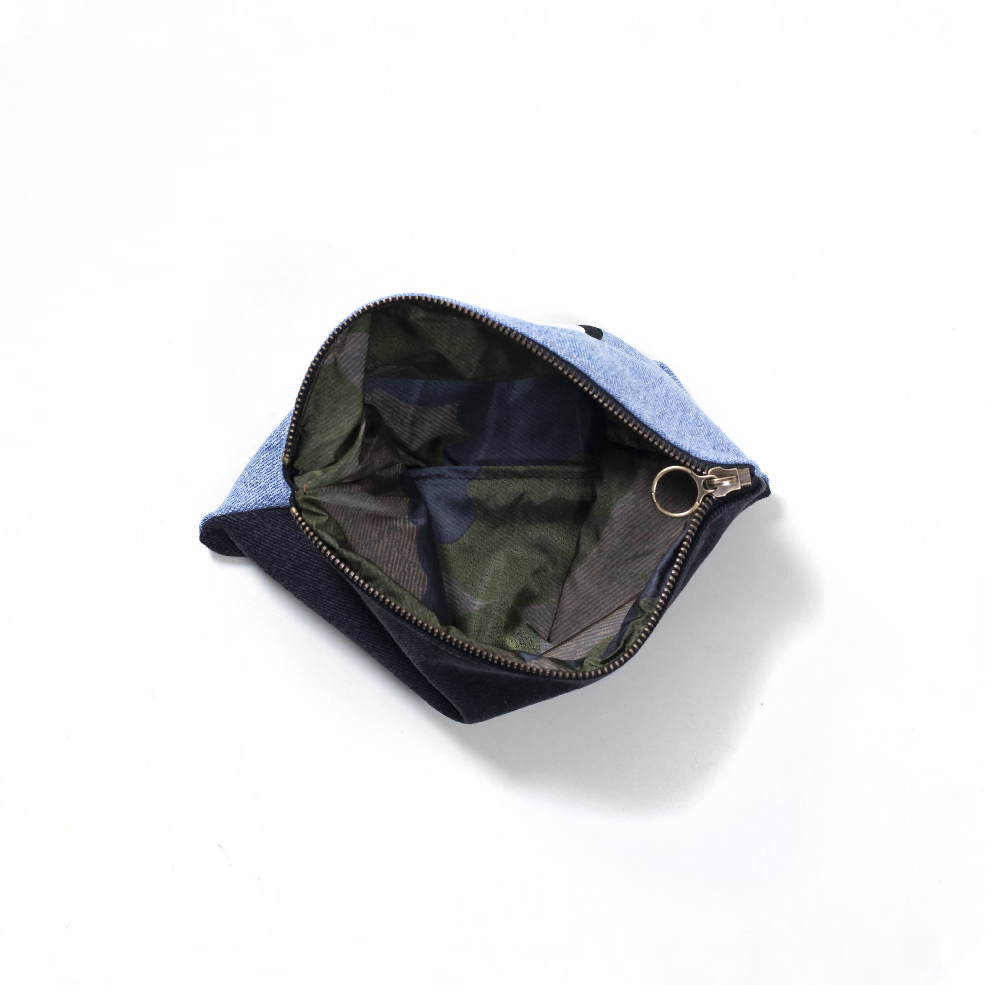 Upcycled denim pouch: shine light