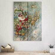Fly Away Santa on Wood - Classic Holiday & Christmas Wall Art