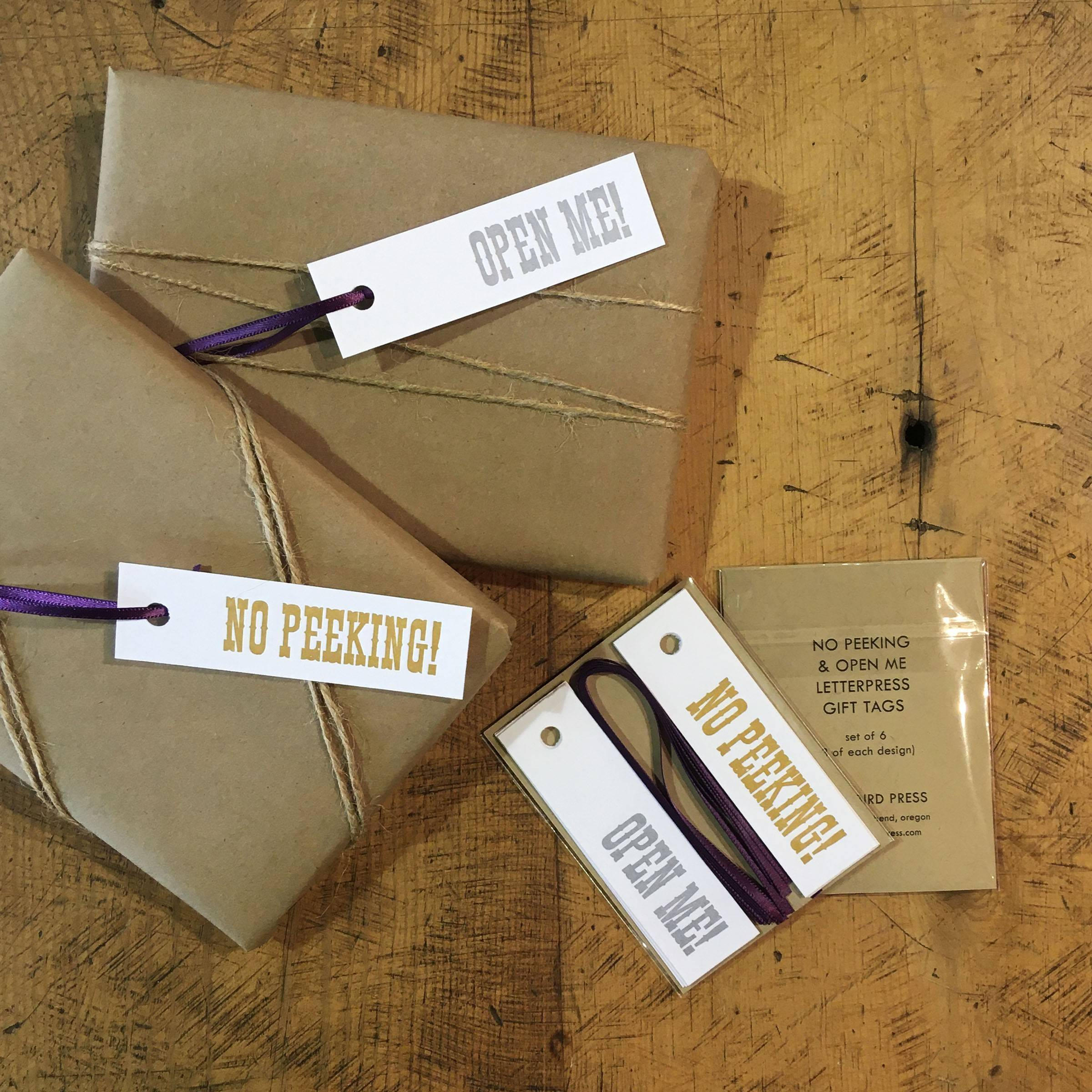 No Peeking/Open Me Letterpress Gift Tags - Set of 6