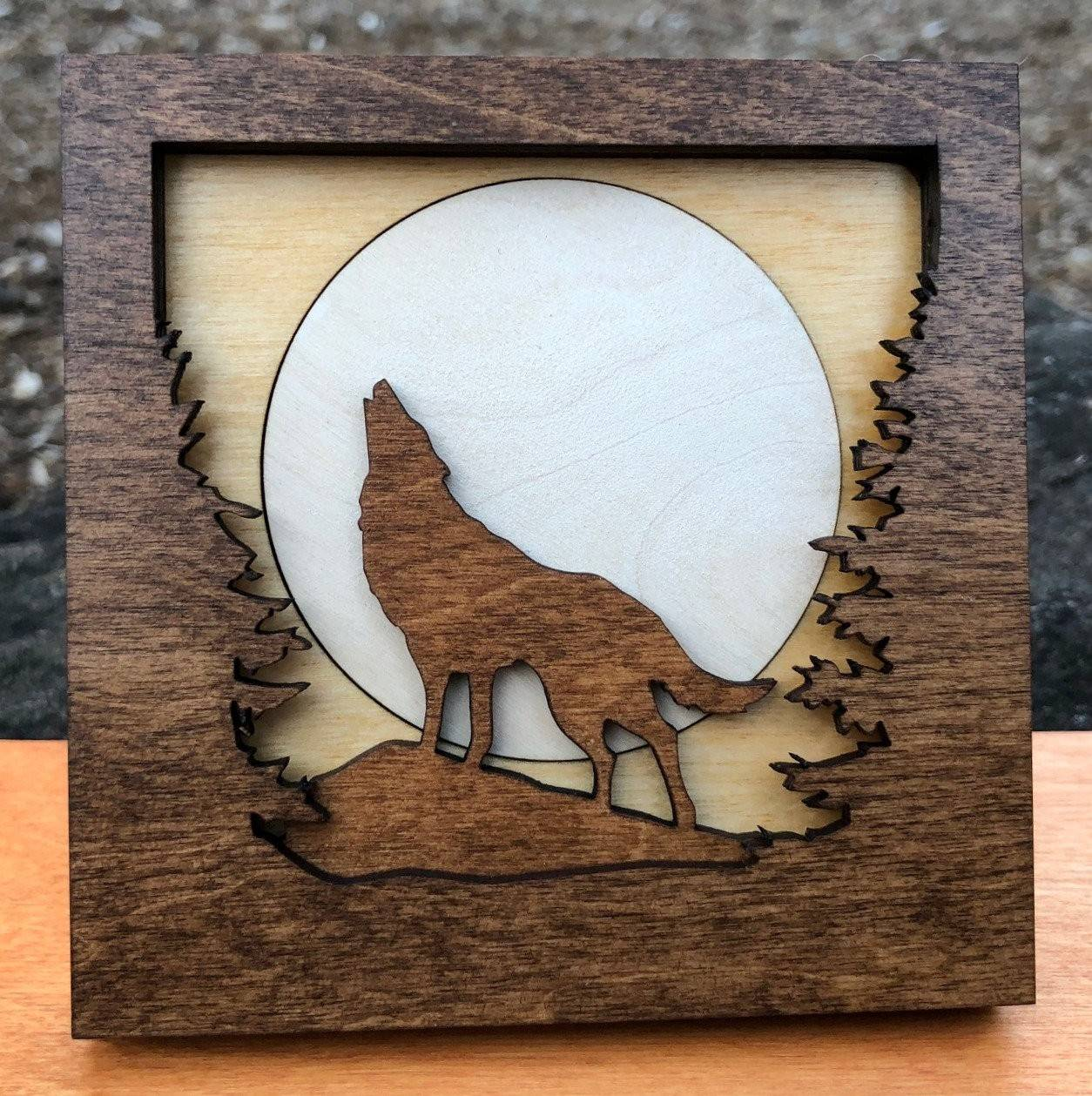 Howling Wolf in Forest Woods 4 x 4