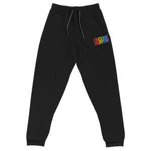 Open image in slideshow, Choose Happy | PRIDE | Embroidered | Rainbow Unisex Joggers