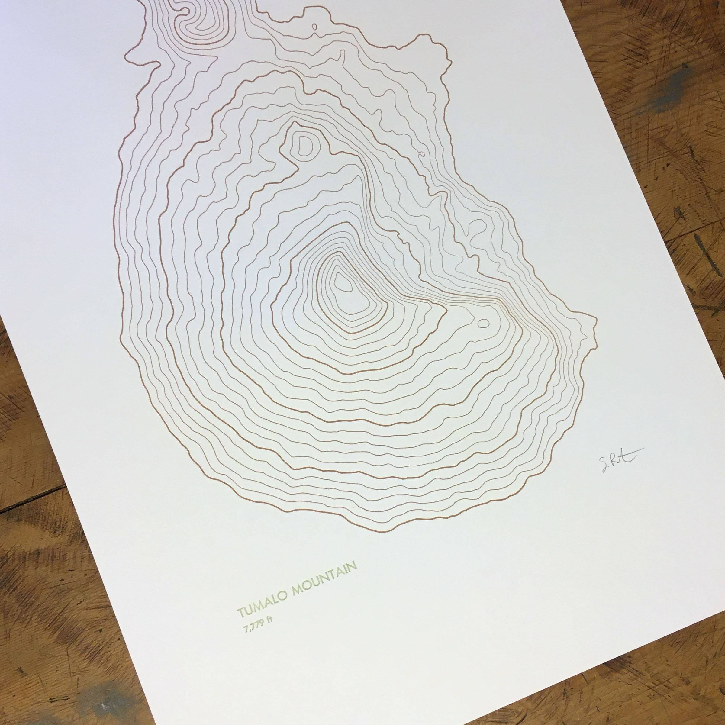 "Tumalo Mountain Topographic Map Letterpress Print - 12"" x 18"""