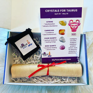 Taurus Zodiac Sign Crystal Healing Stones Velvet Gift Pouch with Astrology Scroll Report