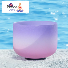 Load image into Gallery viewer, Candy Color Frosted Quartz Crystal Singing Bowl Note F 432 Hz Heart Chakra Healing