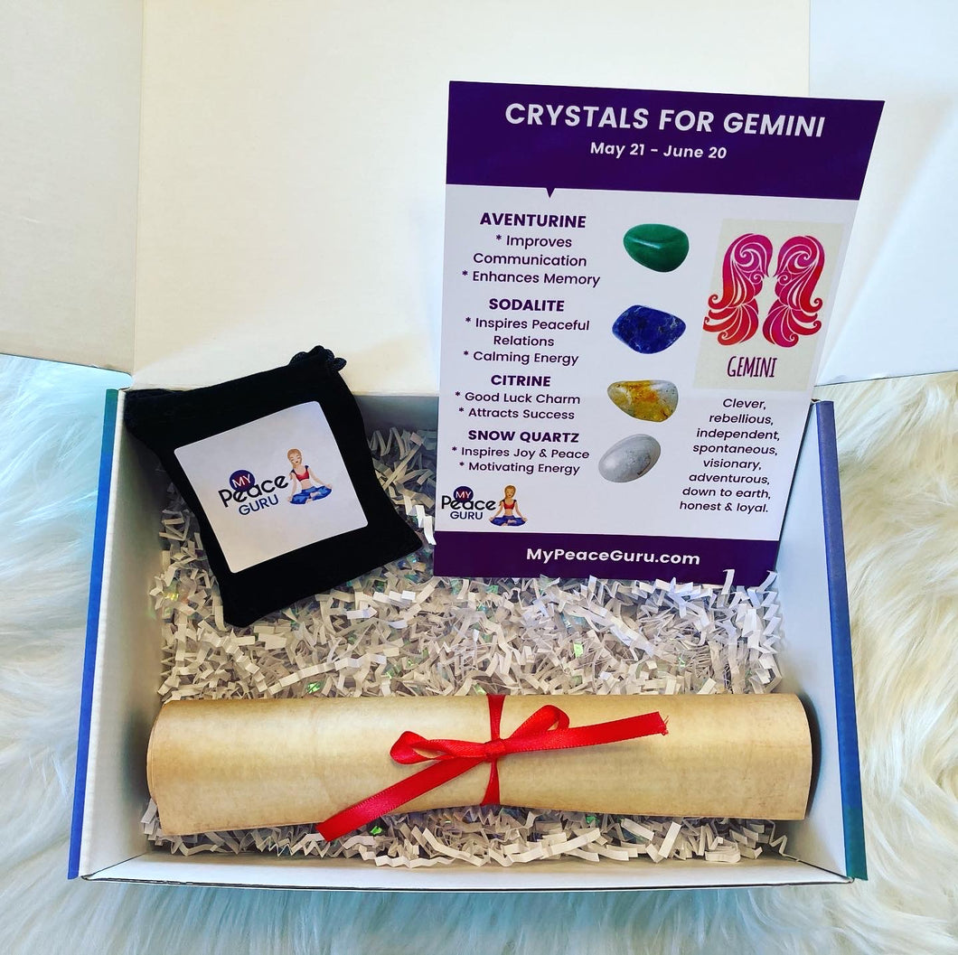 Gemini Zodiac Sign Crystal Healing Stones Velvet Gift Pouch with Astrology Scroll Report