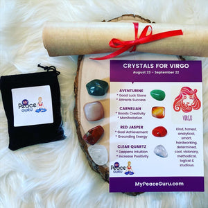 Virgo Zodiac Sign Crystal Healing Stones Velvet Gift Pouch with Astrology Scroll Report
