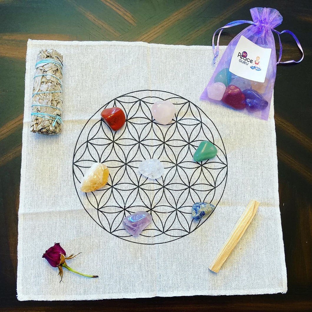 7 Chakra Flower Of Life Attract Healing Grid Kit Law of Attraction Gift Set