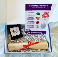 Load image into Gallery viewer, Virgo Zodiac Sign Crystal Healing Stones Velvet Gift Pouch with Astrology Scroll Report