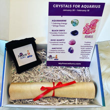 Load image into Gallery viewer, Aquarius Zodiac Sign Crystal Healing Stones Velvet Gift Pouch with Astrology Scroll Report